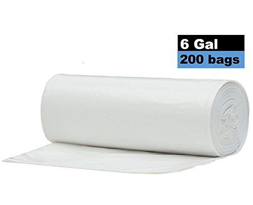 4 - 6 Gallon Clear Small Light Duty Garbage Trash Bags, 200 Count