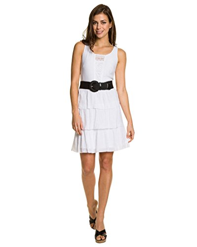 LE CHÂTEAU Woven Tiered Dress for Women,S,White