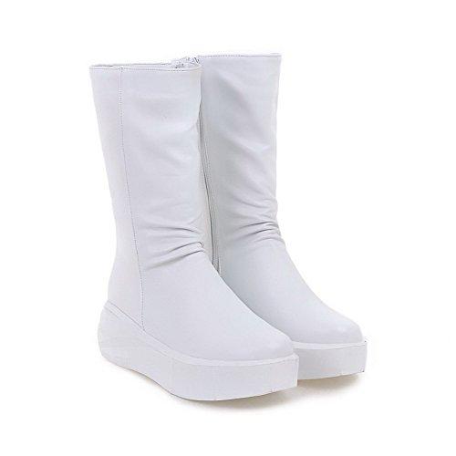 AgooLar Damen Niedrig-Spitze Rein Reißverschluss Mittler Absatz Stiefel Weiß