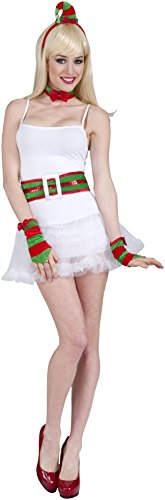 [Forum Novelties Women's Flirty Santa Elf Costume Kit, Red/Green, One Size] (Green And Red Elf Costumes)