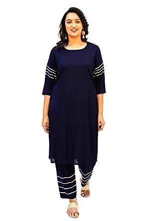 Lastinch Women's Rayon Blue Gota Embellished Kurta Palazzo Set For All Plus Size And Small Size (XXS -8XL)
