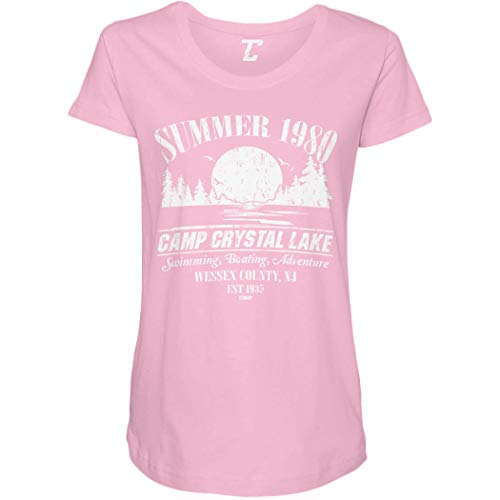 Summer 1980 Camp Crystal Lake Side Ruched Maternity T-Shirt (Light Pink, XX-Large)