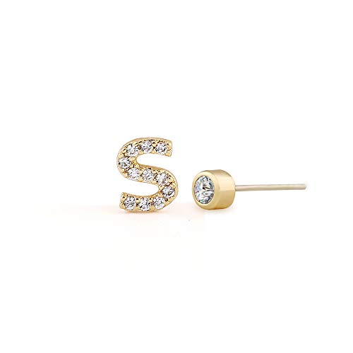 - Cute Tiny Gold CZ Initial S Stud Earrings,925 Sterling Silver Ear Post,Cubic Zirconia Letter Ear Studs For Girls and Womens
