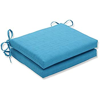 Pillow Perfect Outdoor Veranda Turquoise Squared Corners Seat Cushion, Set of 2
