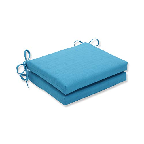 Pillow Perfect Outdoor Veranda Turquoise Squared Corners Seat Cushion, Set of 2 ()