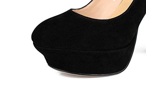 Balamasa Damesplatform Hakken Op Wieltjes Laag Uitgesneden Bovendeel Frosted Pumps-schoenen Zwart