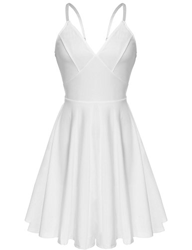 ELESOL Women's V-Neck Spaghetti Strap Backless Mini A-Line Flare Dress,WhiteM