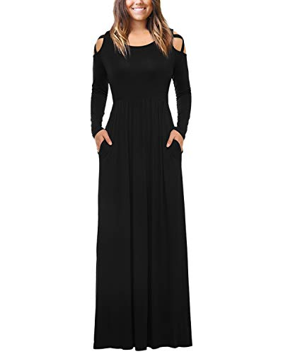 (Mixfeer Womens Plain Maxi Dress Strappy Cold Shoulder with Pockets Long Sleeve Dress Floor Length Dress Casual Long Dress Black)