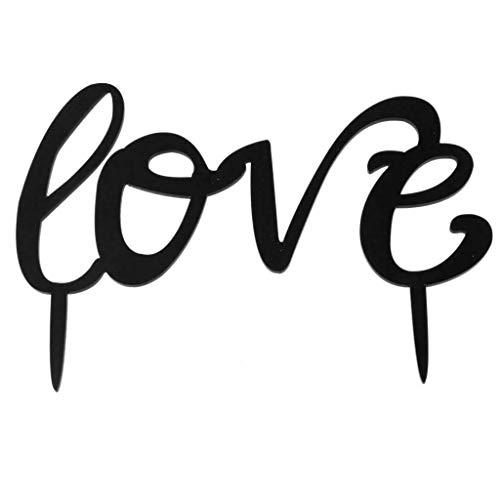 BROSCO Black Acrylic Wedding Mr Mrs Bride Groom Cake Topper Anniversary Favor Decor | Design - Love