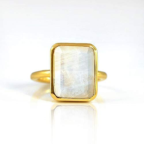 Rainbow Moonstone ring, stackable ring, Vermeil Gold or silver, bezel set ring, rectangular ring, June Birthstone ring, birthday gift, bridal jewelry, geometric ring