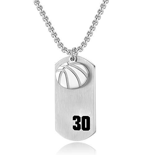 VI.SPORT Player Number 30 Basketball Cross Necklace Dog Tag Pendant,Religious Christian Verse Charm Chain Inspiring Faith I Can Do All Things Jewelry (Silver) ()