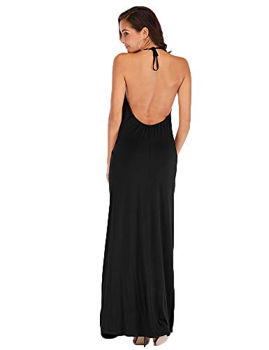 Hioinieiy Women's Summer Casual Halter Neck Backless Maxi Dress Sexy Spaghetti Strap Flowy Long Dresses with Pockets Black S
