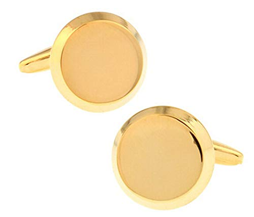AOVITY Men's Classic Stainless Steel Men's Simple Fashion French Cufflinks Genuine Gold Plated Round Glossy Cufflinks