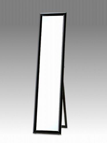 鏡面仕上げ(艶) 丸みフレーム スタンドミラー ブラック(黒) 33cm幅x150cm高 飛散防止 全身 黒 B004I2BI3E ブラック ブラック