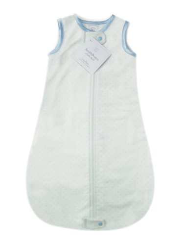 SwaddleDesigns Cotton Sleeping Sack with 2-way Zipper, Made in the USA, Premium Cotton Flannel, Pastel Blue Polka Dot, 0-6MO
