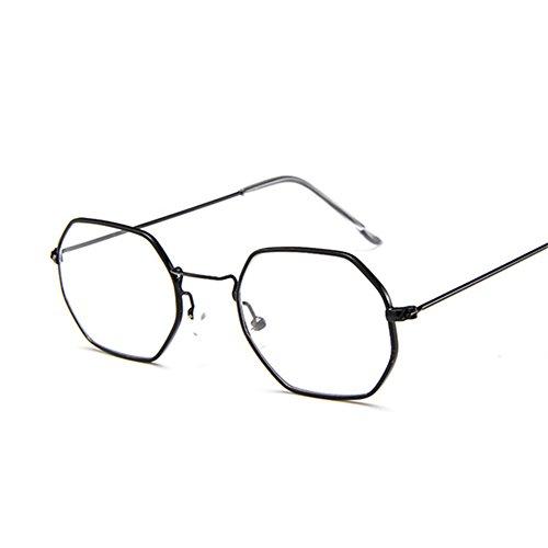 bastidor de sol Vintage gafas marca sol Negro lente Mujer de sol Moda bastidor Polígono pequeño de gafas Diseñador de de hombre Gafas hexagonal metálico transparente qEnx4Hwzn