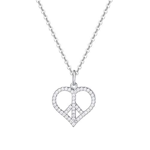 - FANCIME White Gold Plated Cubic Zirconia CZ Dainty Love Heart Peace Sign/Angel Wing Pendant Necklace Fashion Jewelry Gift for Mom Girls Women, 16