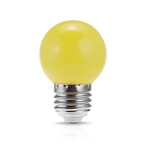 JandCase LED Globe Yellow Light Bulb, 1W, Opaque, Tiny G14 Bulb for Christmas Tree Ornament, Halloween Blowup Lantern, Medium Base -