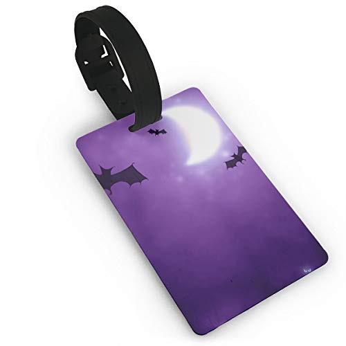 Homlife Happy Halloween Bats Pattern PVC Travel Luggage Tag with Strap for Baggage Bag/Suitcases - Business Card Holder Name ID Labels Set for -