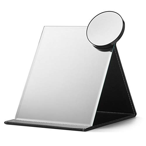 OMIRO Travel Makeup Mirror, Large Folding Plain Tabletop Mirror Adjustable Stand, Attached a Circle 10X Magnifier