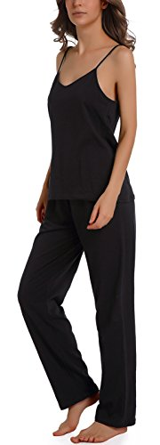 Womens Cami Top Pants (Chamllymers Women Sleepwear Sets, Sleeveless Cami Tops and Sleep Pants Black L)