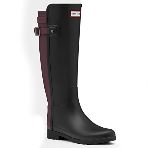 Hunter Womens Original Refined Back Strap Snow Wellingtons Rain Boot - Black/Dulse - 10