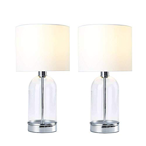 Mondaufie 2-Pack Modern Design Glass Chrome Base White Fabric Shade Table Lamp,Bedside Table Desk Lamps for Bedroom,Living room,Office