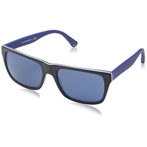 deb9788ceba7 low-cost Emporio Armani Mens Sunglasses EA4048 539280 Square Acetate Top  Black - Matte Blue