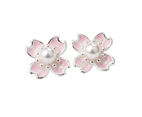 Rakumi Sakura Pearl Earrings 4mm White Seashell Pearl Studs Earrings ()