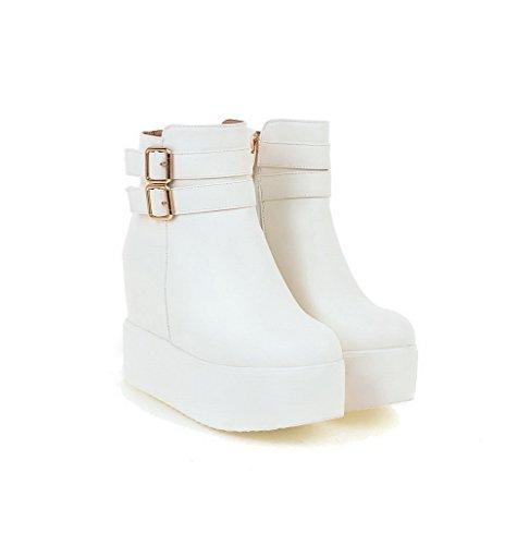 Allhqfashion Womens Zipper Tacco Tacco Alto Pu Stivali Alti Alla Caviglia Bianco