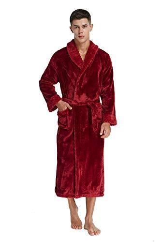 TIMSOPHIA Firecos Men's Long Fleece Bath Robe- Soft Warm Robes for Men, Sleepwear Spa Shawl Collar Robe (Red, X-Large)