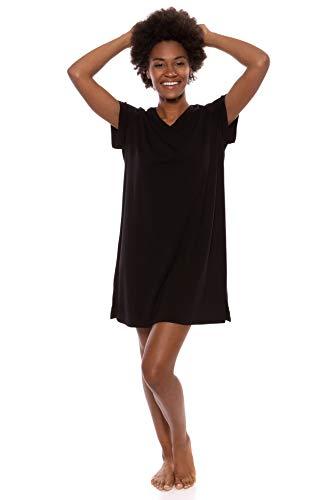 Women's Jersey V-Neck Sleep Shirt - Comfortable Tee Dress by Texere (Lexxie, Black, Medium) Perfect Simple Black T Shirt Dress for Night to Day TX-WB043-002-BLCK-R-M