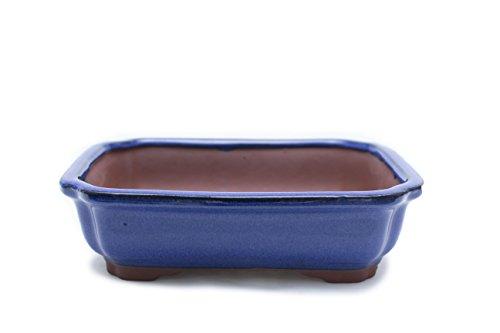 Bonsai Tree Pot Blue Glazed Rectangle Shape (10) ()
