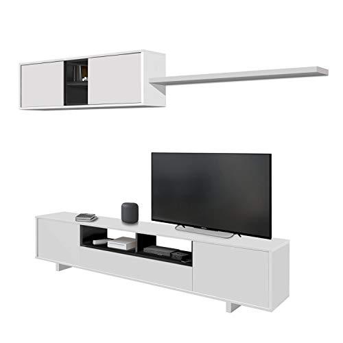Habitdesign 0Z6682BO - Mueble de salon Moderno, modulos Comedor Belus, Medidas: 200 cm (Largo) x 41 cm (Fondo) (Blanco Brillo - Gris Antracita)