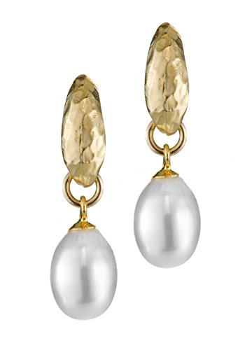 Pearl drops earrings with 24K Gold Plating and Genuine Majorica Pearl (24k Gold Drop)