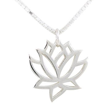 Amazoncom Open Design Lotus Flower Pendant In Sterling Silver On