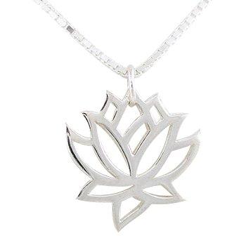 Amazon open design lotus flower pendant in sterling silver on open design lotus flower pendant in sterling silver on 18quot box chain necklace mightylinksfo