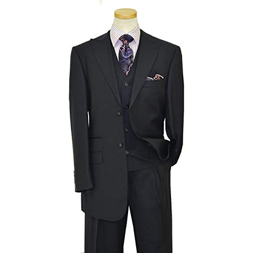 (Luciano Carreli Men's Couture Navy Blue Super 150's Wool Plaid Pinstripes Vest & Trousers 6291-1849 (40R Jacket - 34 in. Waist))
