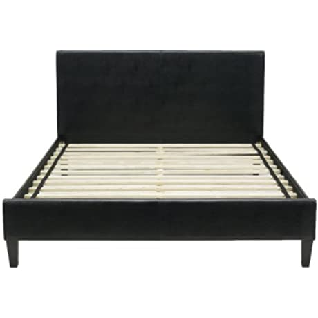 Flex Form Padded Upholstered Platform Bed Frame With Headboard Faux Leather Black Queen