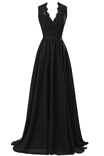 MARSEN Women's Modest V Neck Open Back Chiffon Long Evening Gown with Lace Black Size 12