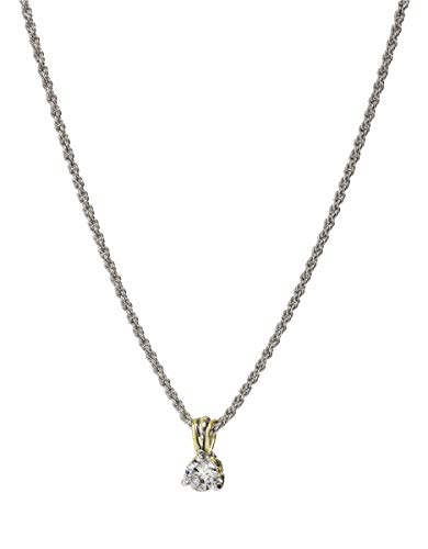 John Medeiros Elegant Beijos Collection Silver and Gold Tone 7MM Clear Cubic-Zirconia 3 Prong Setting Pendant Necklace Dainty and Handcrafted Made in America made in Rhode Island