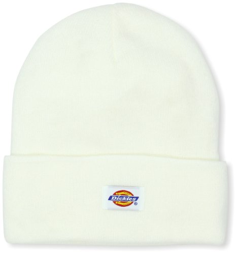 Dickies Men's 14 Inch Cuffed Knit Beanie Hat, White, One Size