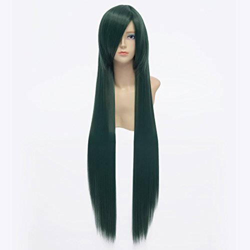 Paixpays blackish green long straight hair wig cosplay costume wig 100cm -
