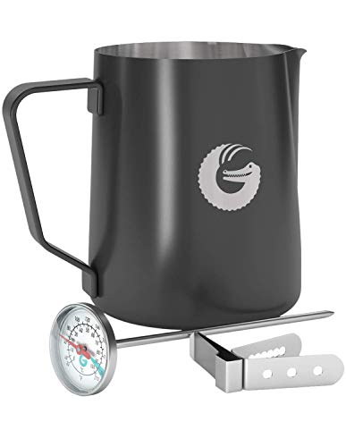 Coffee Gator Milk Frothing Barista Pitcher - Steamer with Thermometer - 18.5 ounce