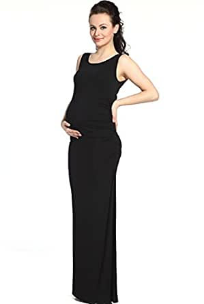 "Momo Maternity ""Charlotte"" Tank Column Dress - Black S"