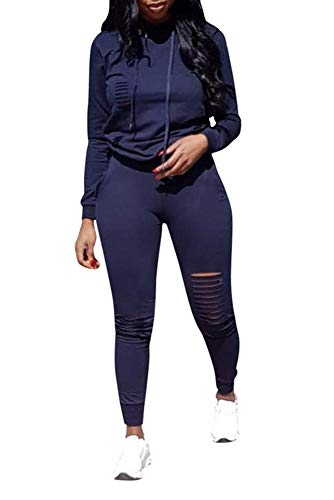 Sweatsuit Navy - Ophestin Women Casual Long Sleeve Hoodies Ripped Top Skinny Long Pants Set Tracksuits 2 Piece Jumpsuits Outfits Dark Blue XL