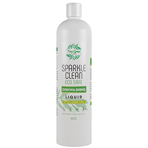 100% Organic Dish Soap Liquid & Dish Washer Detergent, Sparkle Clean by True Green Organics, Non Toxic, All Natural Ingredients, Septic & Water Safe, Concentrated - Lemon Lime [8 Ounces] by True Green Organics