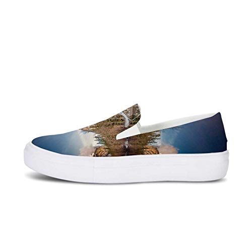 Yosemite Canvas Slip On Shoes,Yosemite Mirror Lake and Mountain Reflection on Water Sunset Evening View Picture for Women,US 5.5