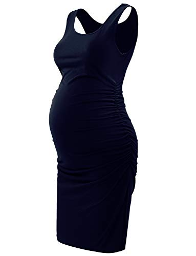 Maternity Tank Dresses,Sleeveless Midi Bodycon Dress for Pregnant Women,Casual Ruched Sides,Navy Blue XXL