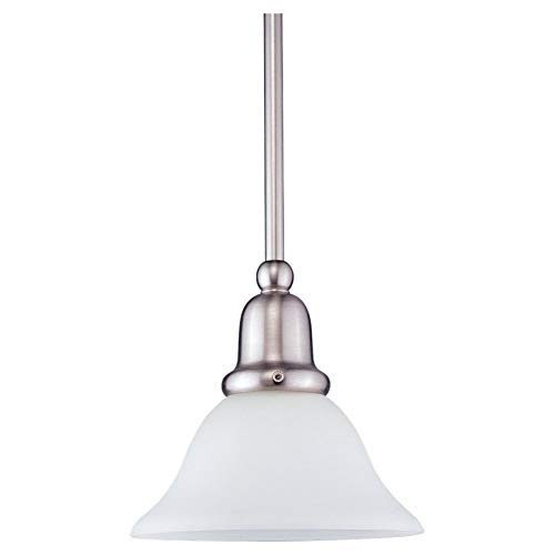 Sea Gull Lighting 69459BLE-962 Single-Light Sussex Fluorescent Energy Star Compliant Mini-Pendant, Satin White Glass and Brushed Nickel (Sussex Single)